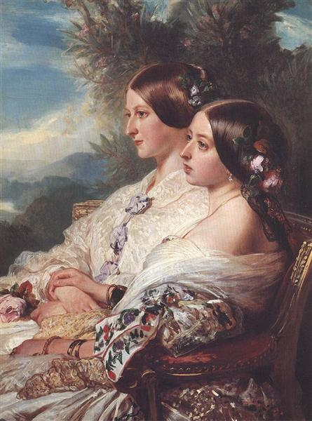 The Cousins: Queen Victoria and Victoire, Duchesse de Nemours, 1852 - Franz Xaver Winterhalter