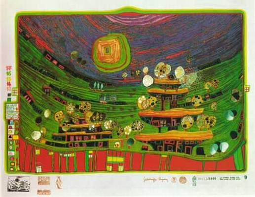 699A  The Houses Are Hanging Underneath the Meadows, 1972 - Friedensreich Hundertwasser