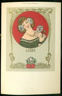 Postcard Love Heart Woman - Fritz Rehm