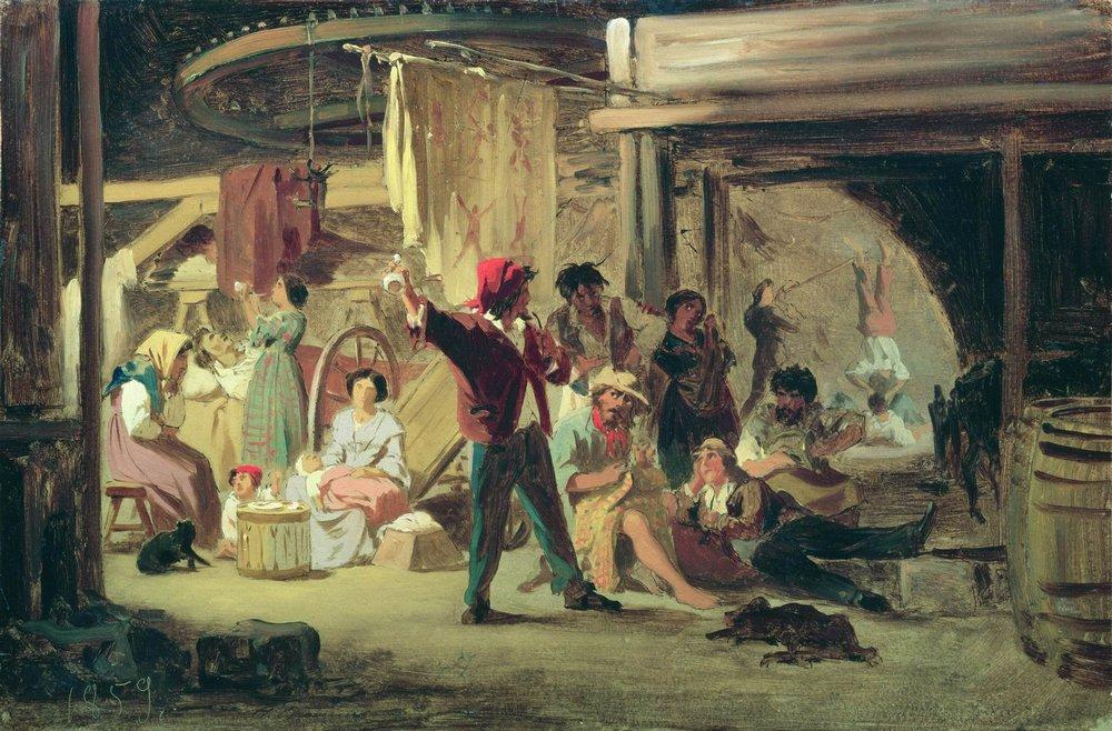 Backstage of the circus, 1859