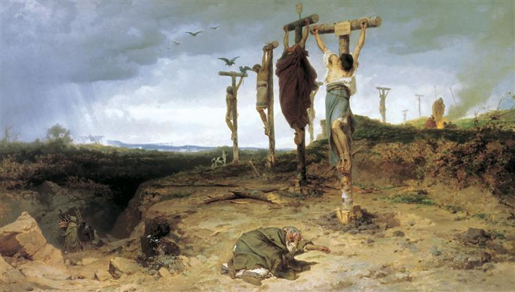 Cursed field. The place of execution in ancient Rome. Crucified slave, 1878 - Федір Бронников
