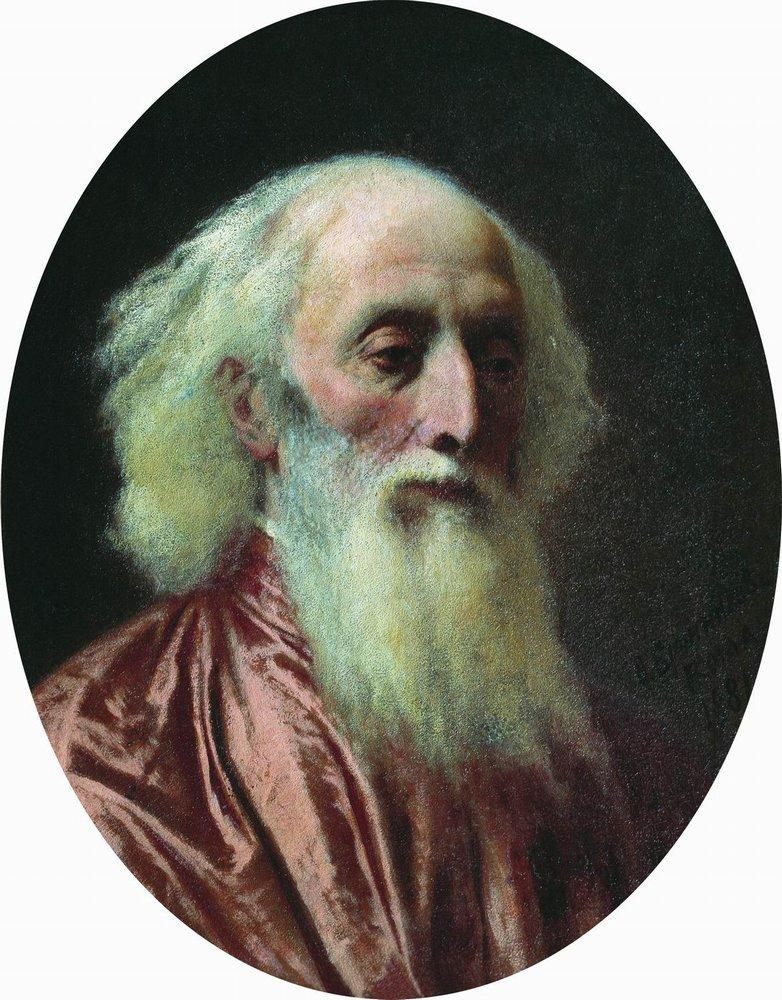 Portrait of an old man in a crimson dress, 1881