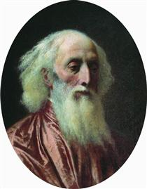 Portrait of an old man in a crimson dress - Fyodor Bronnikov