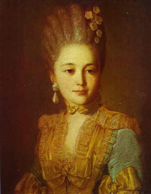 Portrait of an Unknown Woman in a Blue Dress with Yellow Trimmings, 1760