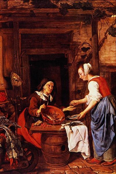 An Old Woman Selling Fish, 1657 - 1662 - Gabriel Metsu