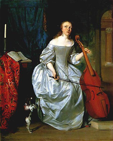 Woman Playing a Viola de Gamba, 1663 - Gabriel Metsu