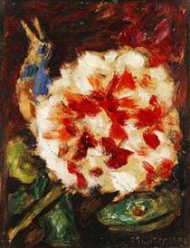 Blume mit Vogel und Echsenkopf - Gabriele Munter