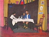 Kandinsky and Erma Bossi at the Table in the Murnau House - Gabriele Munter