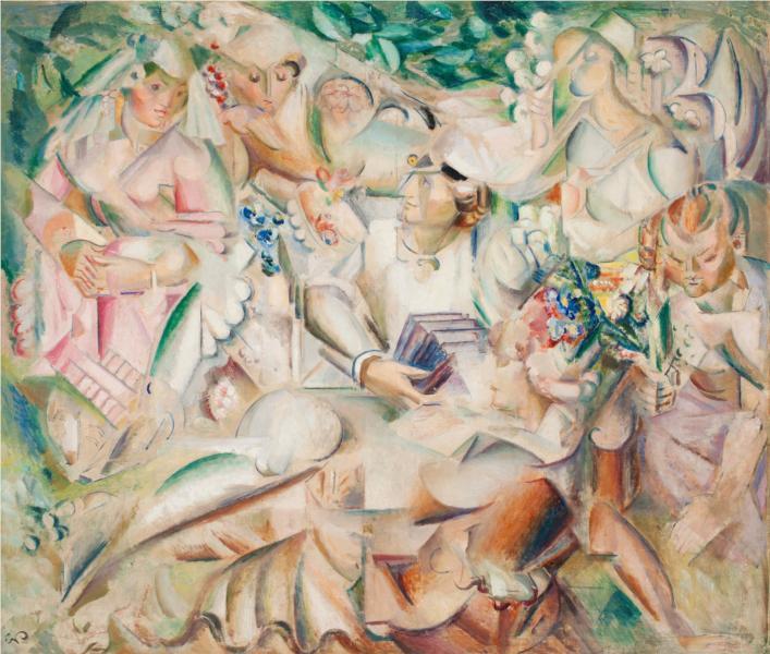 Fyra flickor och en student, 1922 - Georg Pauli