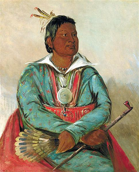 Mó-sho-la-túb-bee, He Who Puts Out and Kills, Chief of the Tribe, 1834 - George Catlin