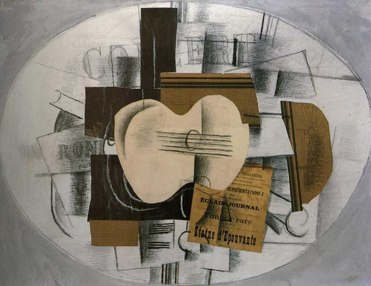 """Guitar """"Program statue d'epouvante"""", 1913 - Georges Braque"""