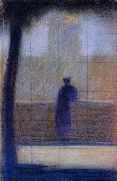 Man leaning on a parapet, 1879 - 1881 - Georges Seurat