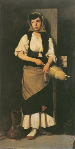 Girl with distaff and spindle 1876 georgios jakobides wikiart girl with distaff and spindle sciox Gallery