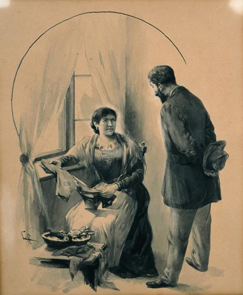 """Drawing for the short story """"The Ugly Sister"""" by D. Vikelas, c.1901 - Georgios Jakobides"""