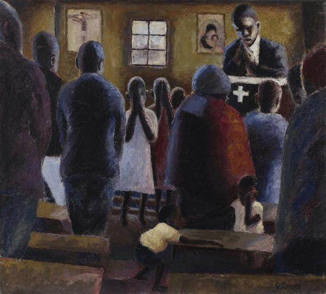 Prayer in Church, c.1947 - Gerard Sekoto