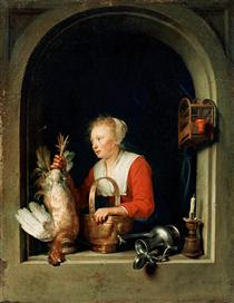 The Dutch Housewife or, The Woman Hanging a Cockerel in the Window - Gerard Dou