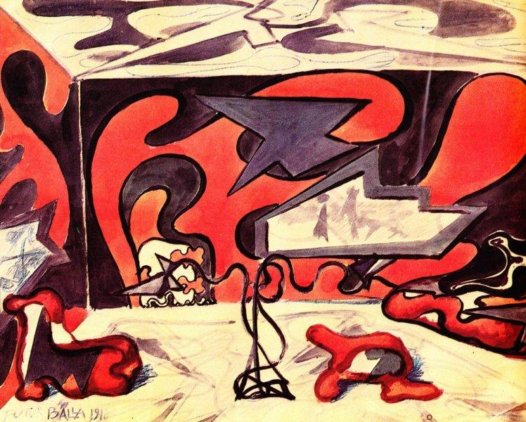 Design for Living Room Furnishings, 1918 - Giacomo Balla