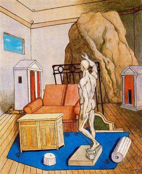 Furniture and rocks in a room, 1973 - Giorgio de Chirico
