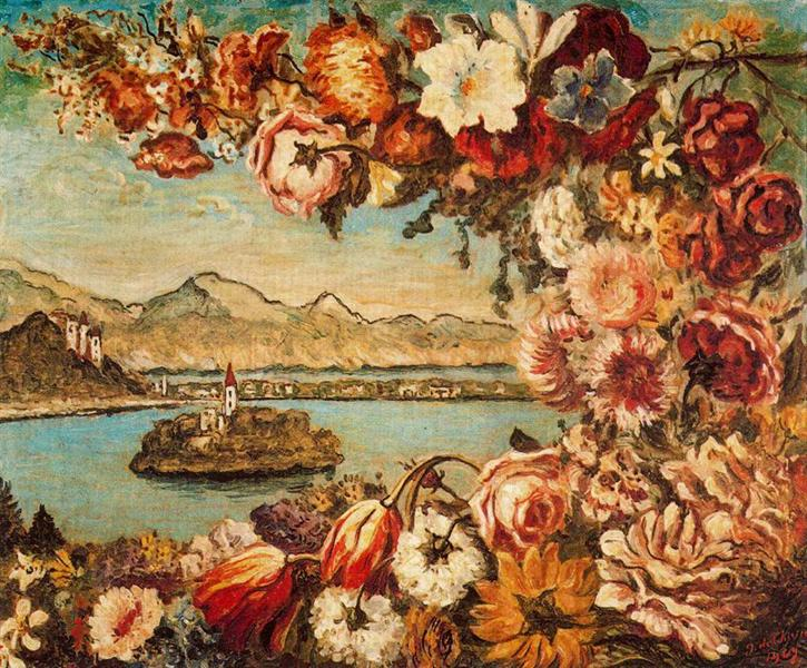 Island and flower garland, 1969 - Giorgio de Chirico