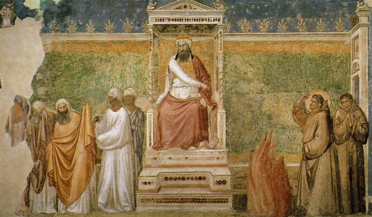 Trial by Fire of St. Francis of Assisi before the Sultan of Egypt, c.1320 - Giotto