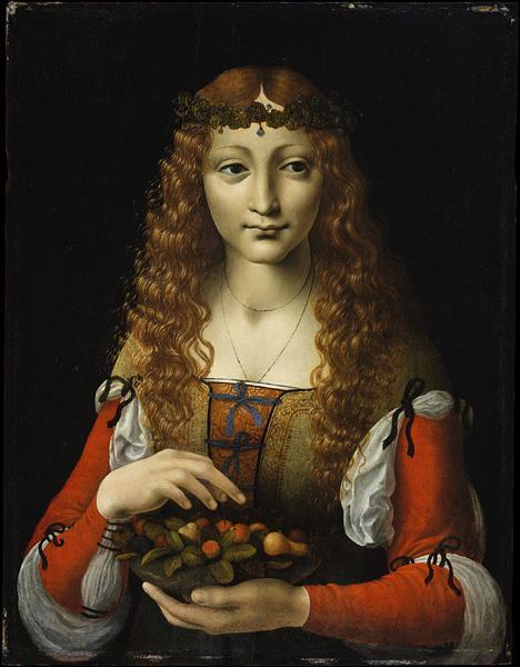Girl with Cherries (also attributed to Giovanni Ambrogio de Predis), 1495 - Giovanni Antonio Boltraffio