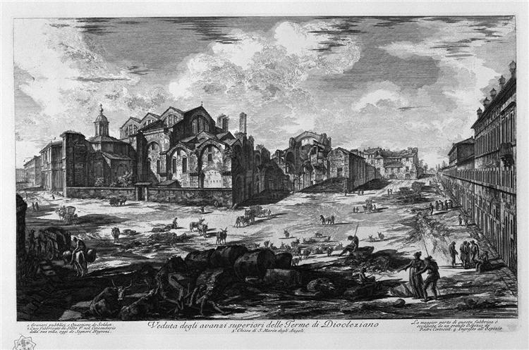 A view of the surpluses above the Baths of Diocletian, 1774 - Giovanni Battista Piranesi