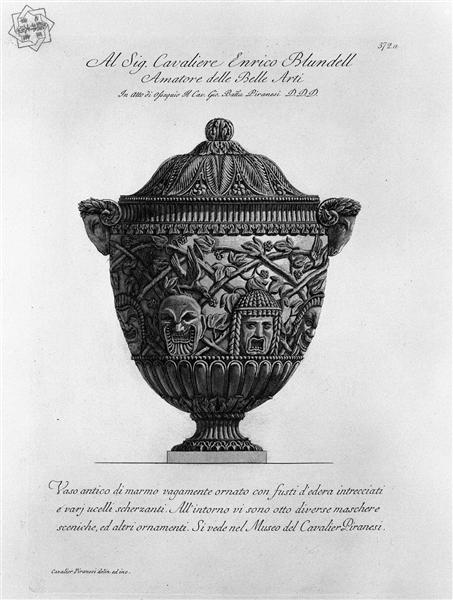 Ancient marble vase decorated with twisted stems of ivy, birds and scenic masks scherzanti, c.1770 - Giovanni Battista Piranesi