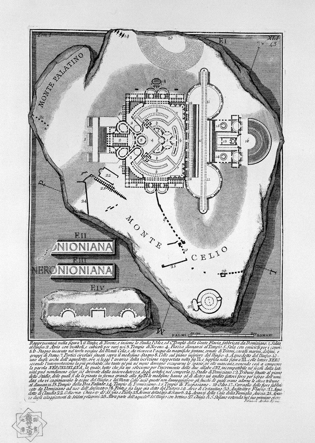 The Roman antiquities, t. 1, Plate XLI. The Nymphaeum of Nero, the Stadium, the `Odeo, and the Temples of the people Flavia, manufactured by Domitian, 1756