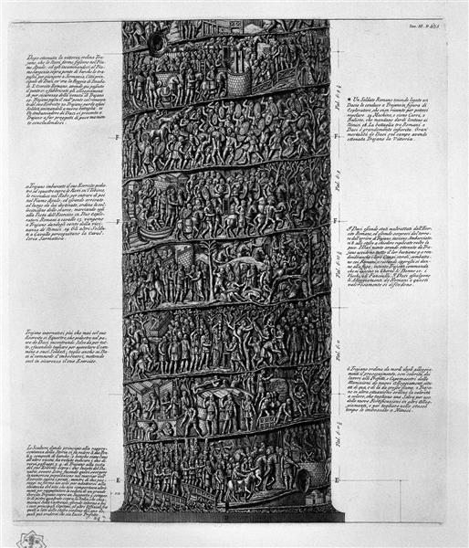 View of main facade of the Trajan Column, six boards together - Giovanni Battista Piranesi