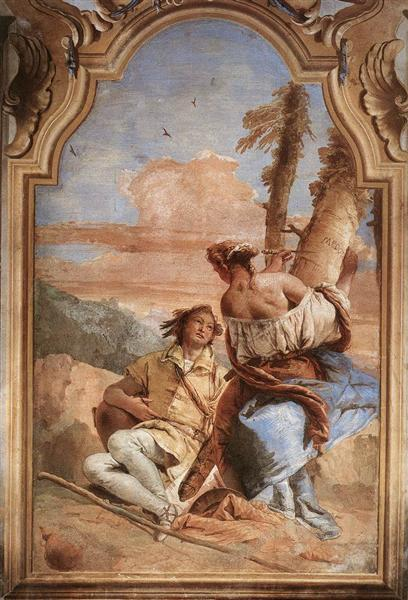 Angelica Carving Medoro's Name on a Tree, 1757 - Giovanni Battista Tiepolo