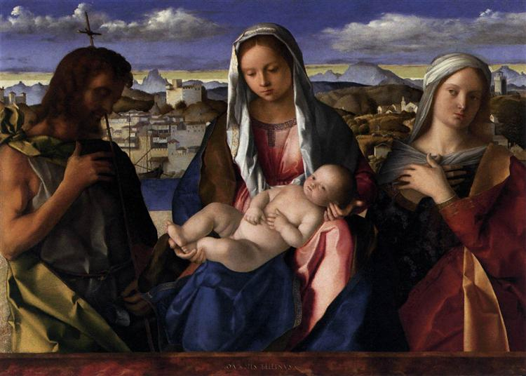 Madonna and Child with St.John the Baptist and a Saint, detail of the background waterside city, 1500 - 1504 - Giovanni Bellini
