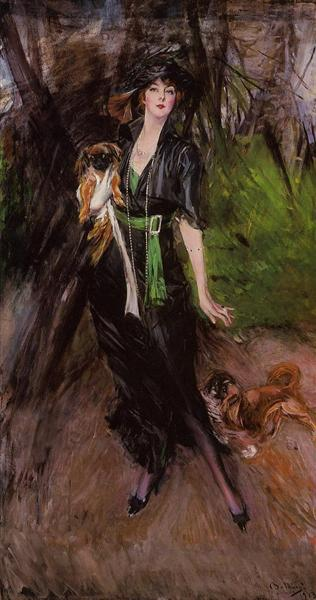 Portrait of a Lady Lina Bilitis with Two Pekinese, 1913 - Giovanni Boldini