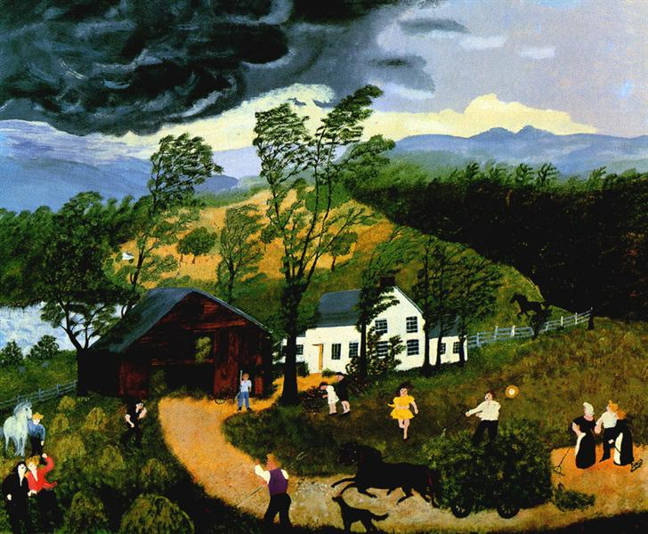 The Thunderstorm, 1948 - Grandma Moses