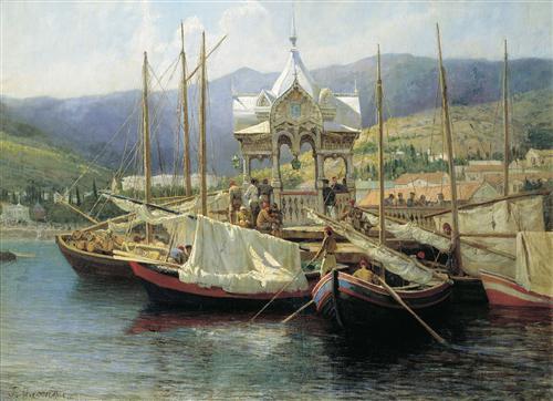 Enbarkement in Yalta - Grigoriy Myasoyedov