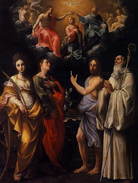 Coronación de la Virgen con Santa Catalina de Alejandría, San Juan Evangelista, San Juan Bautista - Reni Guido