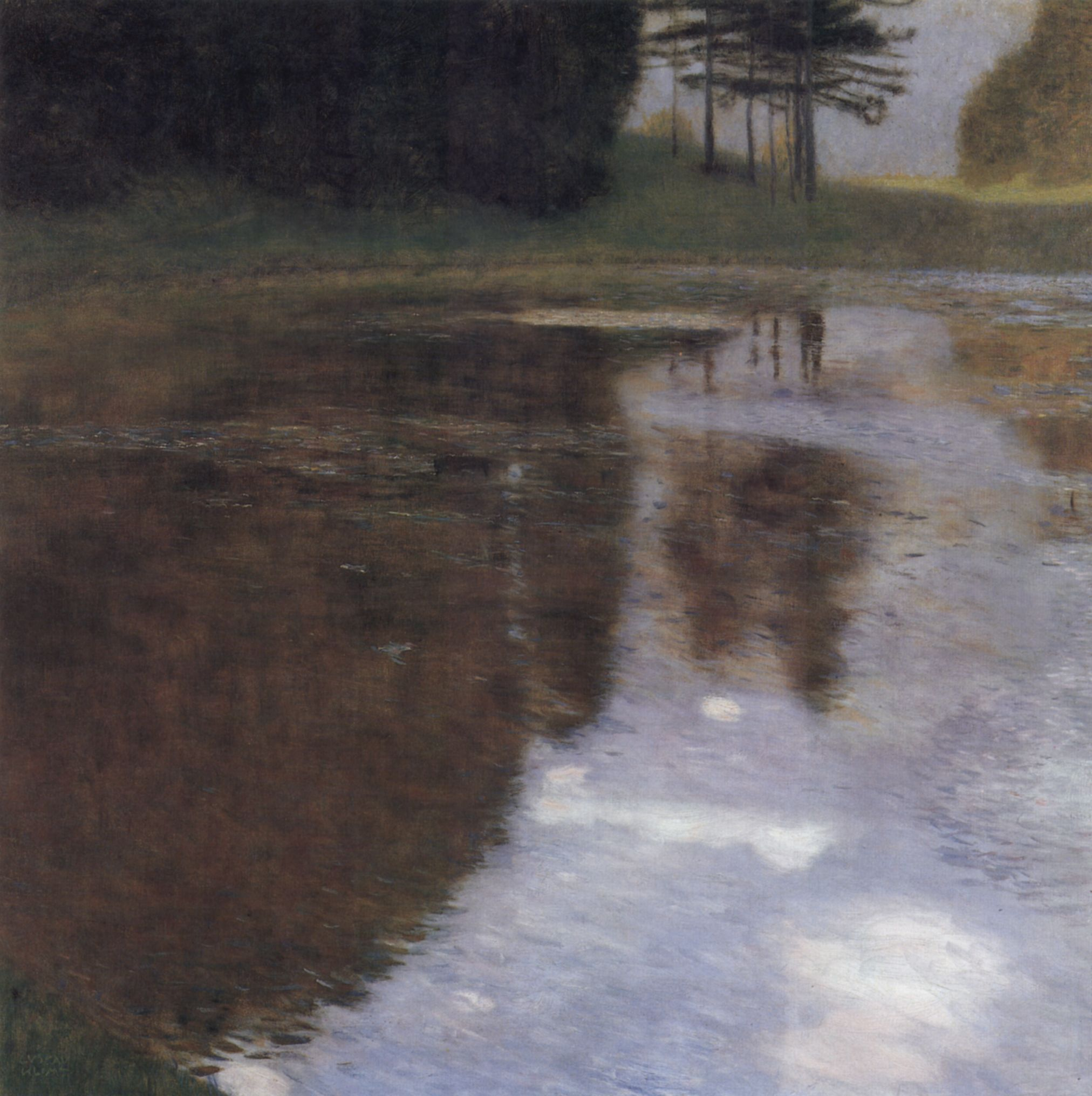 Quiet pond in the park of Appeal, 1899