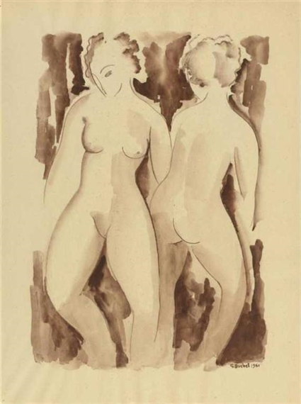 Two female nudes, 1961 - Gustave Buchet