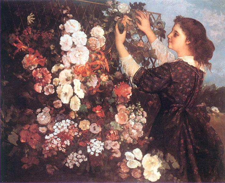 The Trellis (Young Woman Arranging Flowers), 1862 - Gustave Courbet