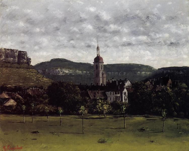 View of Ornans and Its Church Steeple, c.1858 - Gustave Courbet