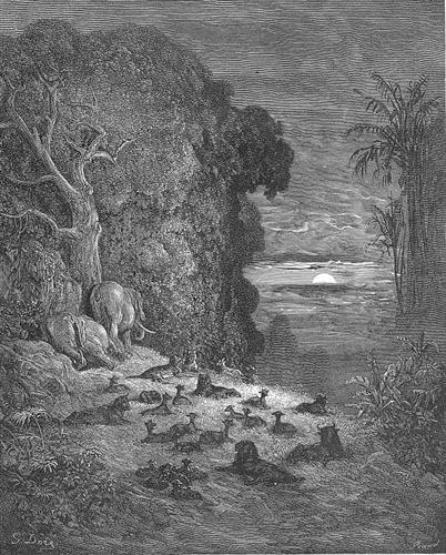 And now on earth the seventh Evening arose in Eden - Gustave Dore