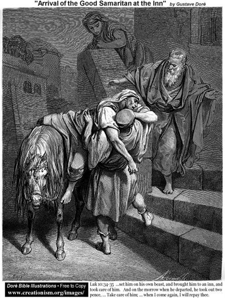 Arrival Of The Good Samaritan At The Inn - Gustave Dore