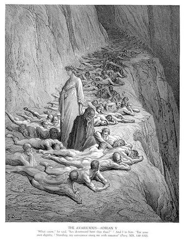 Dante and Pope Adrian V - Gustave Dore