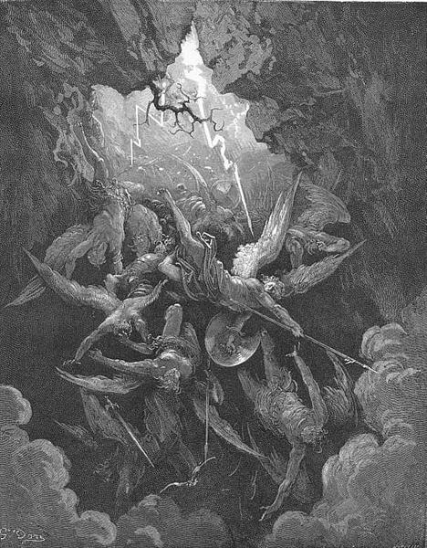 Hell at last, Yawning, received them whole - Gustave Dore