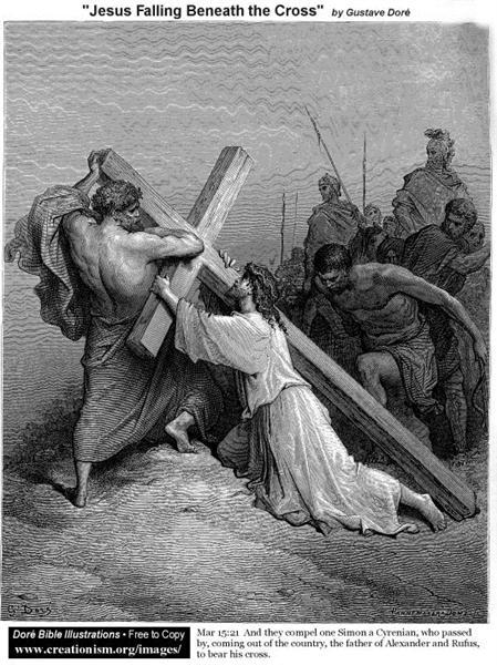 Jesus Falling Beneath The Cross - Gustave Dore