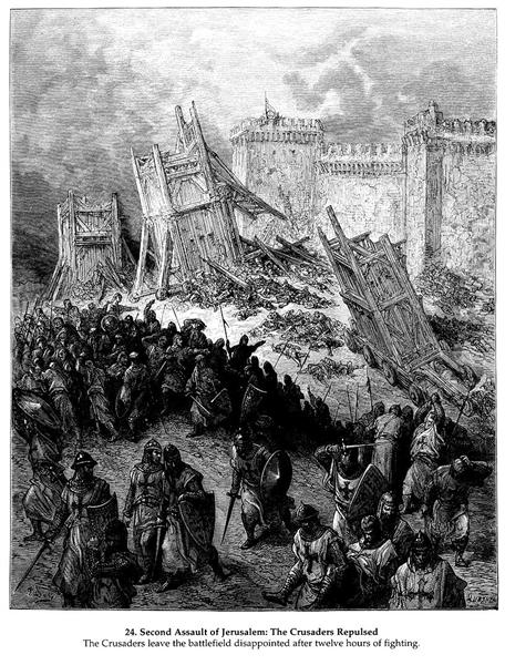 Second assault of Jerusalem by the Crusaders repulsed - Gustave Dore