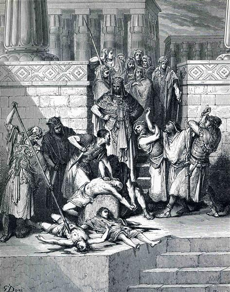Slaughter of the Sons of Zedekiah before their Father - Dore Gustave
