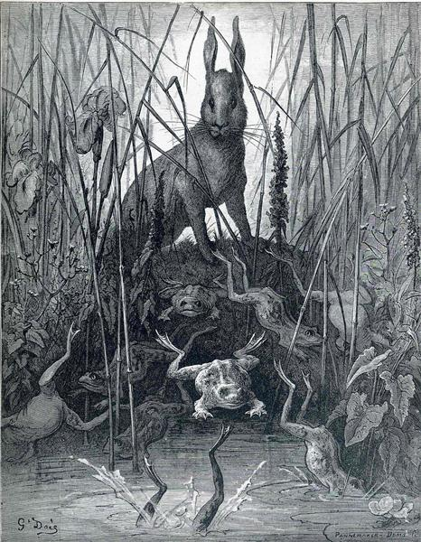 The Hare and the Frogs, c.1868 - Gustave Dore