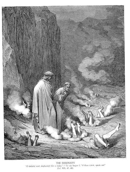 The Punishment of the Simonists, c.1868 - Gustave Dore