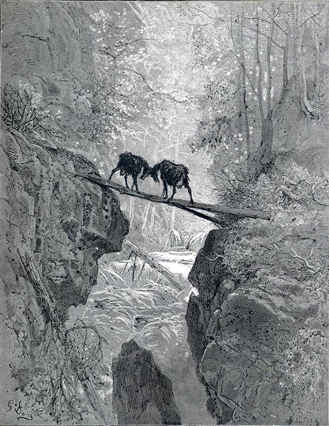 The Two Goats, c.1868 - Gustave Dore