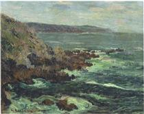 Rock Cliffs by the Sea in Britain - Gustave Loiseau